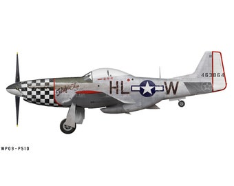"Airplane Decal - P-51D Mustang ""Twilight Tear"" Decorative Vinyl Wall Art"