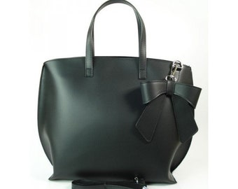 Beautiful Big Black Shopper Bag from Vera Pelle out of Genuine Italian Leather