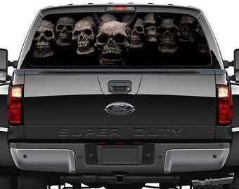 6542e44aec Skull Car Decal. Pick-Up Truck Perforated Rear Windows Graphic Decal. Skull  Decal. Perforated Vinyl Decal. See thru Window Graphics M51