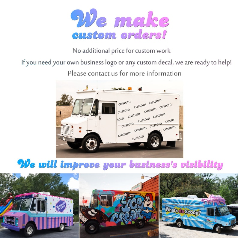 Business Logo Car Stickers Ice Cream Sticker Full Color Decals Ice Cream Truck Decals Decal For Truck Stickers for Cars Trucks RM1