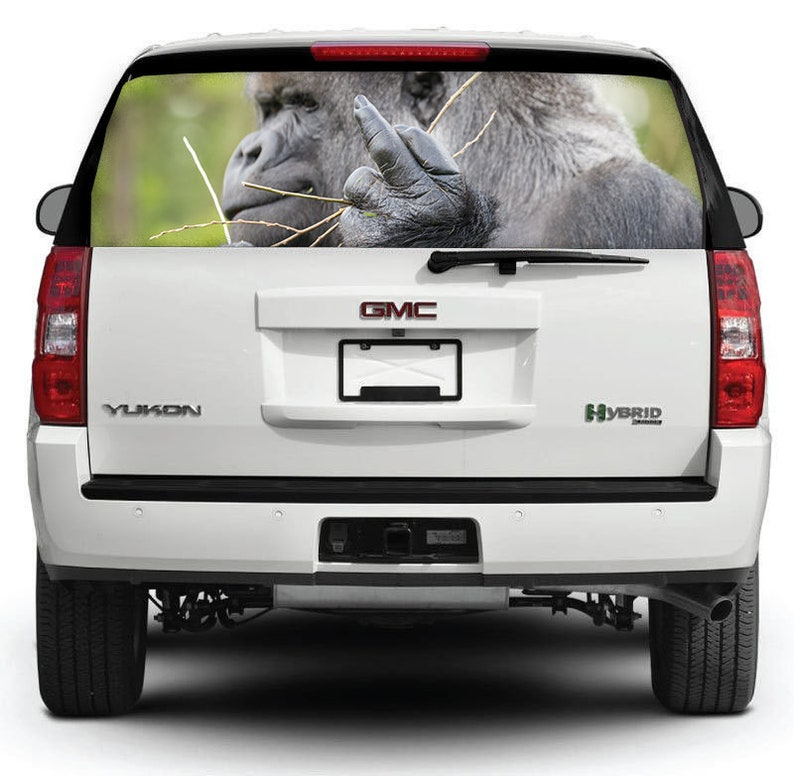 Rear Window Decal Monkey Car Sticker F Decal Perforated Vinyl Decal Car Sticker See Thru Window Graphics Funny Stciker M47