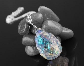 46x23 mm Angel Aqua Aura Crystal Quartz Pendant Aqua Titanium Crystal Cluster Pendant Crystal Rough Pendant Spirit Quartz Pendant PN33