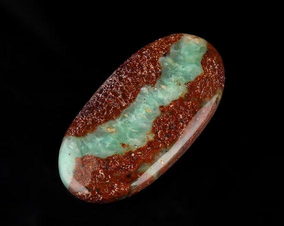 Cabochon en Chrysoprase naturelle Bio Bio naturelle 65 cts, concepteur de Chrysoprase taille du Cabochon, environ 51 x 26 mm 5ee69a