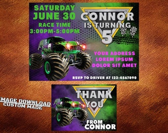 monster truck invite etsy