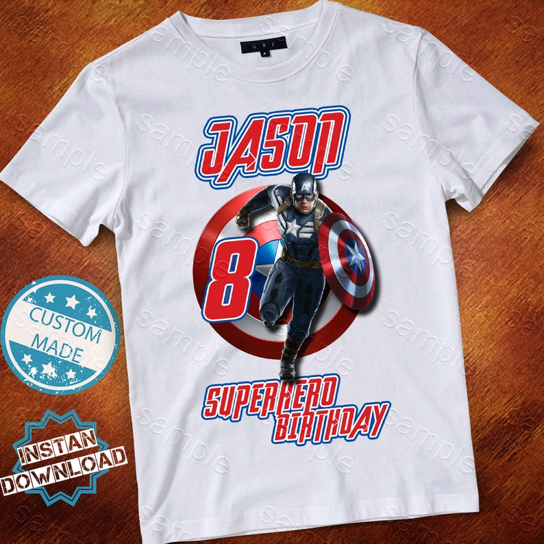 Iron On T-Shirt Transfer Print Superhero Logo Captain America