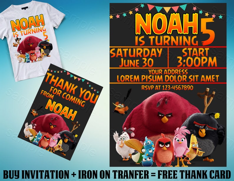 Angry Birds Invitation Angry Birds Birthday Invitation Angry Birds Party Angry Birds Iron On Transfer Angry Birds Personalize