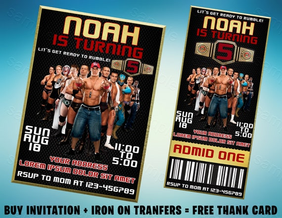 image about Wwe Birthday Invitations Printable Free named Wwe Wrestling Birthday Invitation, Wrestling Ticket Invitation, Wrestling Get together, Wwe Invitation, Wwe Birthday, Wrestling Iron Upon Go