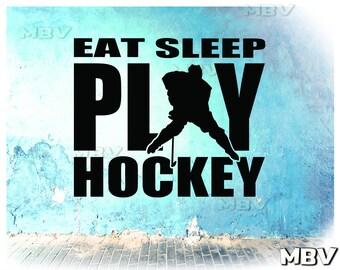 Eat Sleep Play Hockey | Hockey Wall Decal | Kids Boy Teenager Hockey Bedroom  Decor |