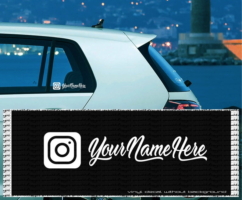 Instagram vinyl decal - Custom text / IG Name - hashtag - Wall decal  sticker - business door sign - get more followers - Custom social media