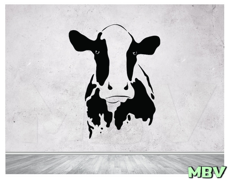 cow wall decal cow head wall art cow wall decor cow | etsy