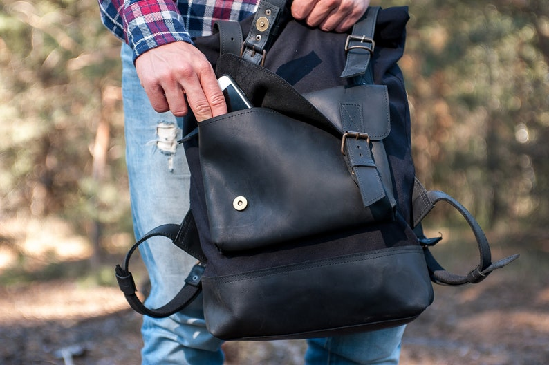 Black backpack bag,Backpack for bike,Canvas backpack men,Backpack for ipad,Roll top backpack,City rucksack,Camera backpack,Commuter backpack