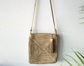 f092906b6a89 Vintage Sharif Purse - Gold Crossbody Bag - Gold Embellishment - Zipper  with Tassel - Made in the USA - Square Purse - Vintage 80s Accessory
