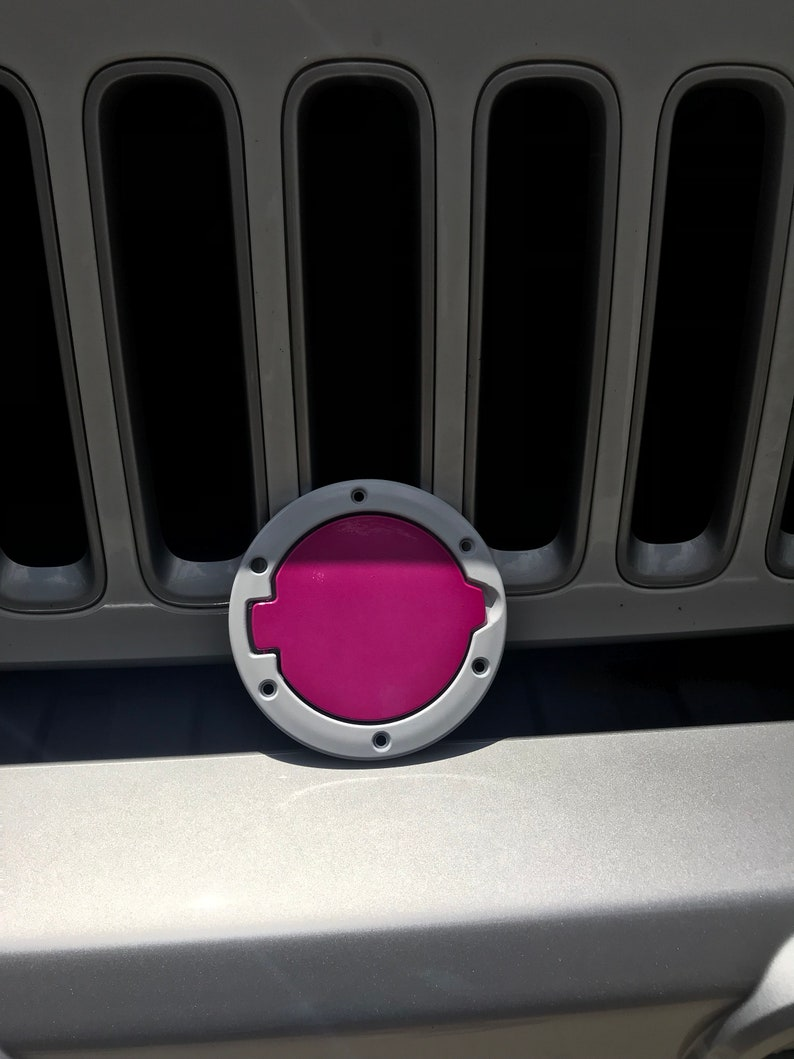 cca5a915 Jeep Wrangler gas cap pink with purple glitter and white | Etsy