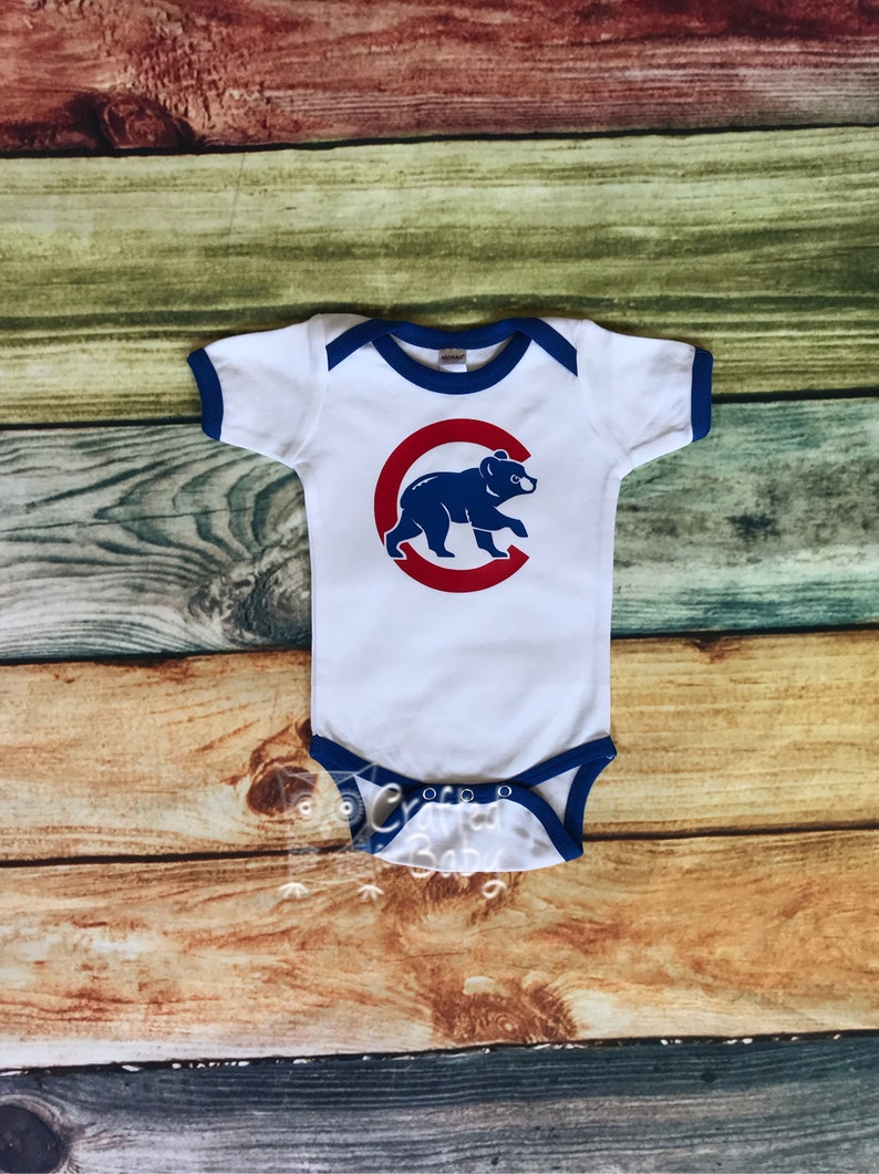 the best attitude 23951 278a6 Chicago Cubs Baby Ringer Bodysuit Toddler Child Youth Adult Shirt