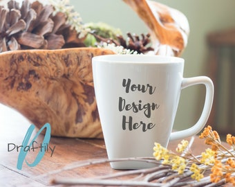 Coffee Mug Mockup - White Mug with Wooden Basket, Pine Cones, Flowers, Twigs, Camping - Home & Kitchen - Styled Stock Photo