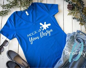 Next Level Ideal V 1540 T Shirt Mockup Royal Blue V Neck Flat
