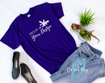 Download Free Gildan Unisex T-Shirt Mockup Photo, Purple, Shirt, Tee, T Shirt, Mock up, Mock up Photo, Flat Lay, Etsy Photo, Product Photo PSD Template