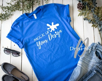 Bella Canvas Unisex T Shirt Mockup Royal Blue Flat Lay Tee Mock