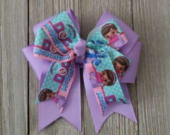 Handmade Doc McStuffins inspired hair accessory, Doc McStuffins hair bow