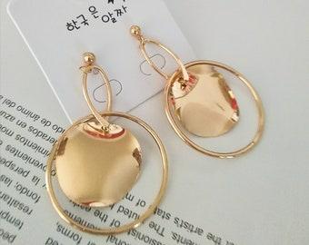 Free shipping/ gold earrings/large dangle earrings/bright glam earrings/ fashion earrings for women