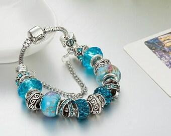Sterling silver PANDORA Bracelet, European beads Bracelet, Charms, good gift for women