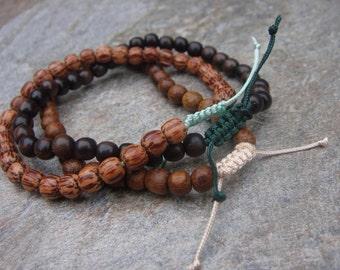 wood bead bracelet set tiger ebony robles palmwood