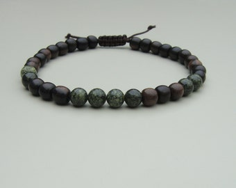 tiger ebony wood and russian serpentine bead bracelet adjustable