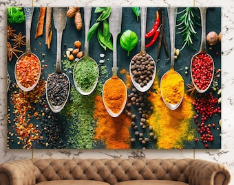 TABLE OF SPICES CANVAS PRINT PICTURE WALL ART KITCHEN HOME DECOR FREE DELOVERY