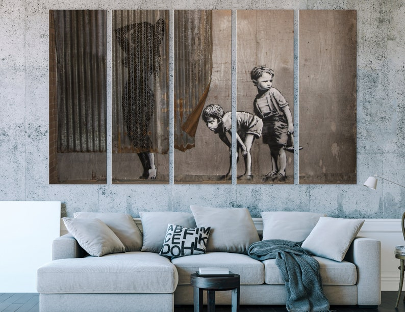Contemporary Art Ironic Wal Art Shower   Banksy Style Dismaland Bemusement Mother And Sons Gloomy Print Printable Canvas
