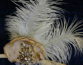 Great Gatsby Ostrich Feather Rhinestone Brooch Fascinator