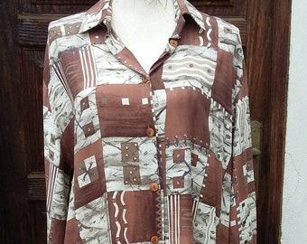 Vintage Shirt 80s Brown Size: 4XL UK 20 USA 18