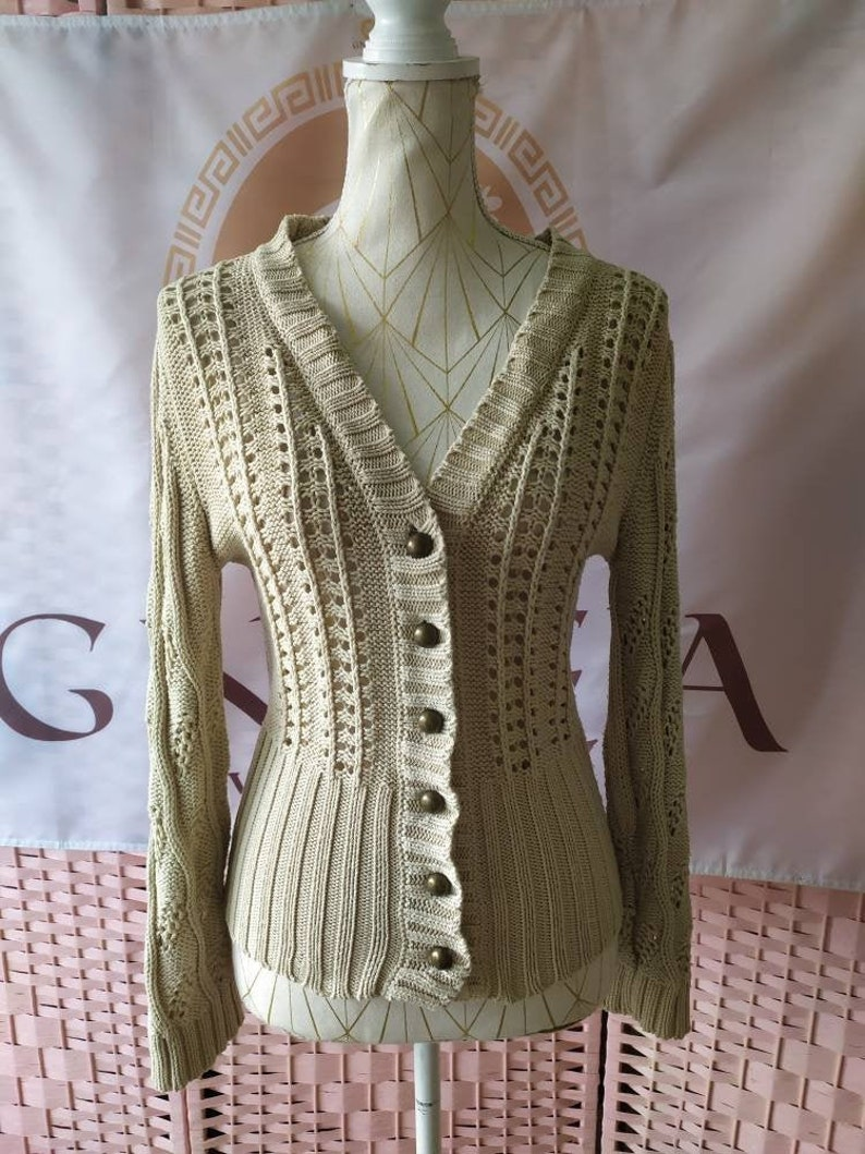 reworked cream lace top Beige silky blouse top button up blouse top stone lace trim vintage short sleeve square collar crochet