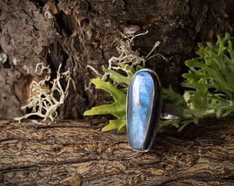 Labradorite Ring, Oxidized Silver and Labradorite Ring, Blue Fire Ring, Silversmith Ring, Bezel Set Silver Ring, Labradorite Statement Ring