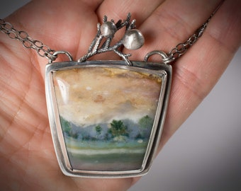 Reserved Listing****   Gorgeous Picture Jasper Pendant, Mountain Scene Picture Jasper Pendant, One of a Kind Silver and Jasper Pendant