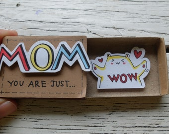 "Family Father and Mother Card Matchbox/ Gift box/ Mom"" You Are Just ""/ Wow/ FM02"