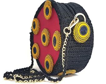 ankara bag,ankara round bag,ankara crochet bag ,ankara handmade bag