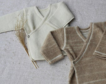 Organic baby clothes gender neutral Eco friendly baby clothes Merino wool wrap cardigan Take home outfit Baby top