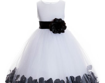 4d7022b99b4 Ivory Floral Petals Design Flower girl dress Wedding Junior Bridesmaid