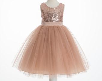 61e097c01a7 Rose Gold Sequins Mesh Flower Girl Dress Tulle Dresses Wedding Formal  Dresses Toddler Girl Ball Gown Junior Bridesmaid Dresses Pageant Dress