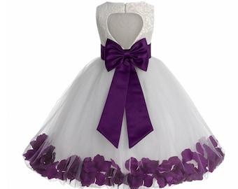 bc1f83618d4 Heart Shaped Cutout Ivory Flower Girl Dress