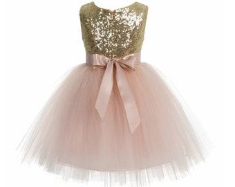 b60137890 Sequins Flower Girl Dress, Toddler Tulle Dresses, Pageant Girl Dress,  Holiday Dress, Knee Length Dress Blush Pink Dresses, Infant Girl Dress