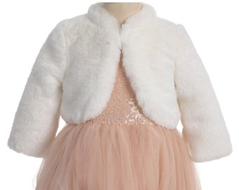cba9d8d606 Ivory Faux Fur Shrug, White boleros, Wedding Fur Jacket, Fur Cape, Flower  Girl Cape, First Communion Costume Girl Cape Wrap Cozy Fur Jacket