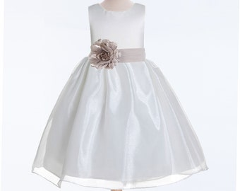 f99b60a3f85 Organza Ivory Flower Girl Dress with Satin Sash Available in 50 colors