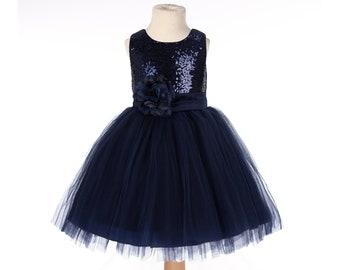 Sequin Tulle Flower Girl Dress, Holiday Dress, Graduation Dress Communion Dress Baby Girl Dress Red dress Blue dress Pink Dress Purple dress