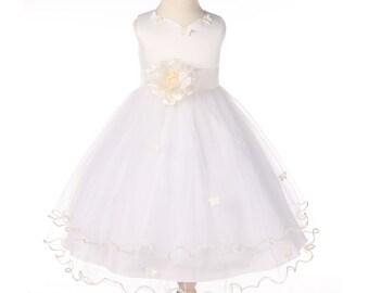 f86b7a885 Ivory Flower Girl Dress, Butterfly Flower Girl Dress, Junior Bridesmaid  Dress, Wedding Pageant Dress, Rustic Girl Dress, Baby Girl Dresses