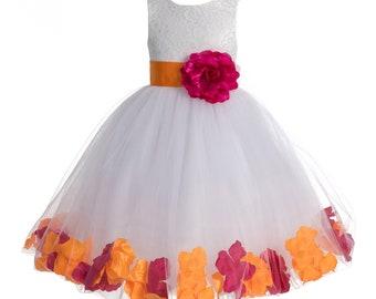 Rose Petals Ivory Tulle Junior Flower Girl Dress Formal Recital Dresses 302T 6