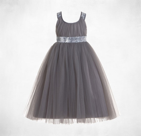 Beaded Sequins Pleats Tulle Wedding Flower Girl Party Dress Up Size 2-11y FG357