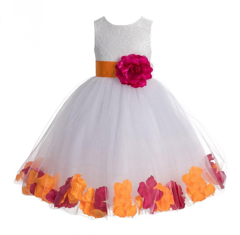 6000b73af2a Heart Shaped Cutout White Flower Girl Dress Floral Petal