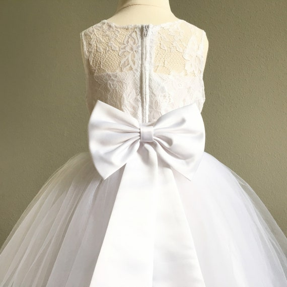 White Flower Girl Dresses Girls Lace Dress White Tulle Dresses Wedding Flower Girl Dress Junior Bridesmaid Dress First Communion Dress