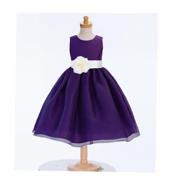 Purple Flower Girl Dresses, Organza Dress, Purple Dress, Bridesmaid Dress, Wedding Dress, Mini Bride Dress, Junior Dresses, Reception Dress